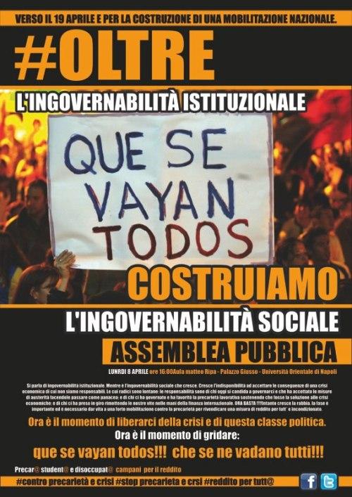 Assemblea pubblica verso il 19 aprile || Oltre l'ingovernabilità istituzionale: costruiamo l'ingovernabilità sociale. Que se vayan todos!